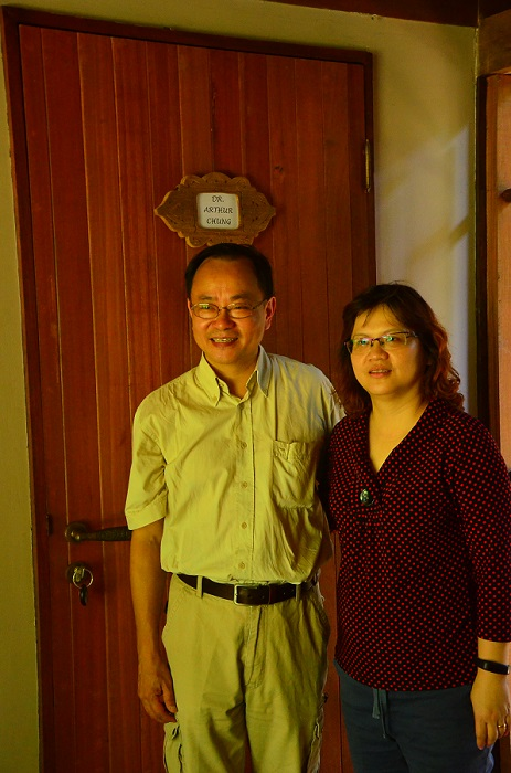 Dr. Arthur and wife outside the room tributed to him